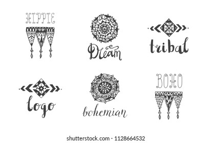 Vector set of hand drawn tribal, boho style logos, signs, icons. Lace, linear art symbols with lettering