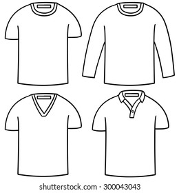 vector set of hand drawn t-shirt