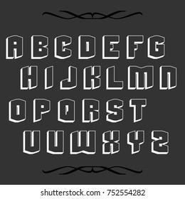 Vector set of hand drawn typeface alphabet fonts