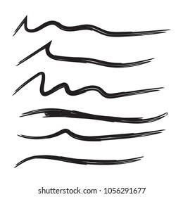 Vector set of hand drawn underline. Felt tip brush smears. Paint stripe.