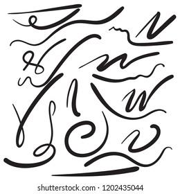 Vector set of hand drawn underline. Felt tip brush line. Swoosh element.