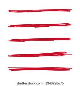 Vector set of hand drawn underline. Felt tip brush smears. Red paint stripe.