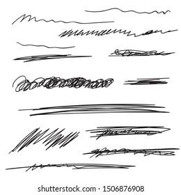 Vector set of hand drawn underline. Black scribble brush strokes collection. Felt tip brush smears stripe.