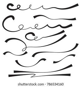 Vector set of hand drawn underline. Felt tip brush line.