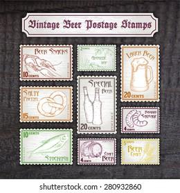vector set of hand drawn vintage postage stamps on wooden desk