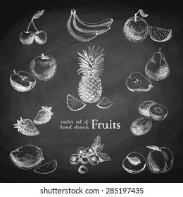 Vector set of hand drawn vintage fruits and berries. Retro illustration. Chalkboard.