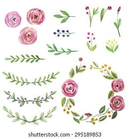Vector set of hand drawn watercolor floral elements for design