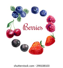 Vector set of hand drawn watercolor berries. Cherry, raspberry, strawberry, acai, blueberry. Isolated objects on white background for menu and recipe design.