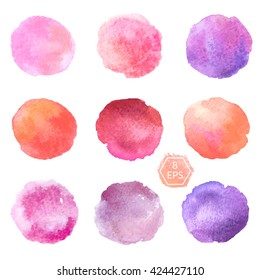 Vector. Set of hand drawn watercolor blots. Hand drawn watercolor blots good for your design, logo, label, print, card, banner. Elements for your design. Vector watercolor blots.