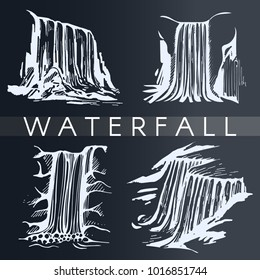 Vector set with hand drawn waterfall on the black background