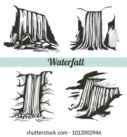 Vector set with hand drawn waterfalls