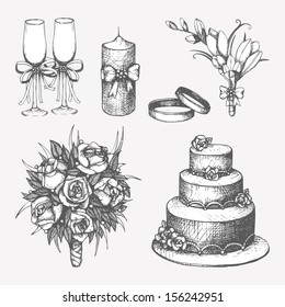 Vector set of  hand drawn wedding elements isolated on white