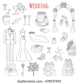 Vector set of hand drawn wedding icons isolated on white background, doodle sketch illustrations.