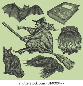 Vector set: hand drawn witch elements including a cauldron, a raven, a witch riding her broom, an old recipe book, a black cat and a bat.
