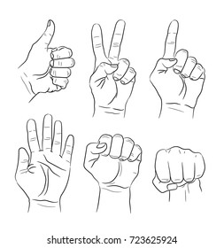 Vector set of hand gestures. Contour illustration.