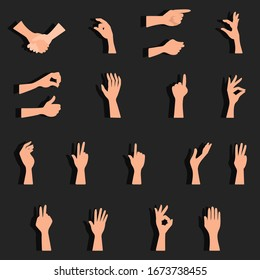 Vector set of hand gestures. Counting on fingers, shaking hands, grabbing, pinching, pointing, open hand, gesture all is well, hold, thumbs up.