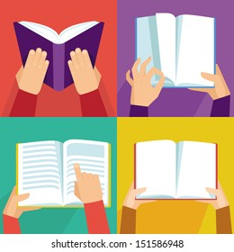 Vector set of hand holding books - icons in flat retro style