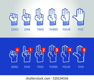 Vector set of hand icons. Numbers zero, one, two, three, four, five. Outline icons.