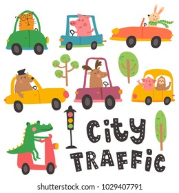 vector set, hand lettering city traffic text, funny  animals in different cars