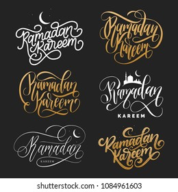Vector set of hand lettering with phrases Ramadan Kareem and Eid Al-Fitr translated in English Feast of Breaking the Fast. Calligraphy collection.