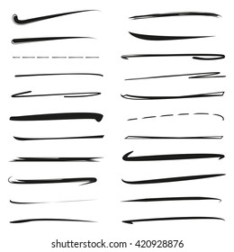 vector set hand lettering underlines, brush line