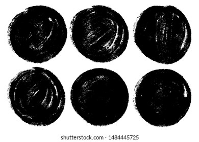 Vector set of hand painted circles for backdrops. Monochrome artistic hand drawn backgrounds. Hand drawn stains round shape set.