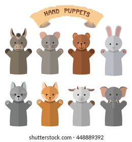Vector set of hand puppets in flat style. Design elements and icons isolated on white background. Doll gloves with different animals.