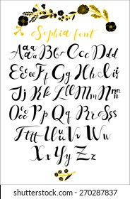 Vector set with hand written ABC letters. Calligraphy collection font from my big font collection.Wedding alphabet. Hand drawn letters. Letters of the alphabet written with a brush.