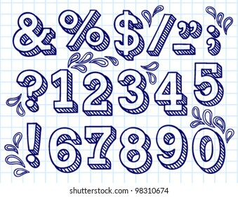Vector set with hand written ABC letters and figures
