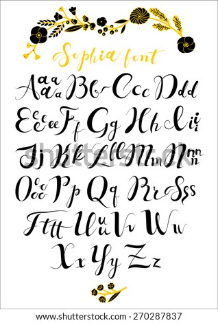 Vector Set Hand Written Abc With Letters Calligraphy Collection Font From My Big