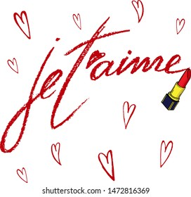 """Vector set with hand written phrase """"je t'aime"""" and simple hand drawn hearts made by red lipstic."""