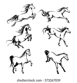 Vector set with hand-drawing graphic of a  horses for design
