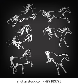Vector set with hand-drawing graphic of a horses on blackboard for design