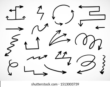 vector set of hand-drawn arrows