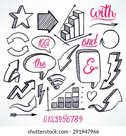 vector set of hand-drawn arrows and bubbles icons on white background