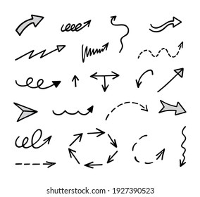 Vector set of hand-drawn arrows, elements for presentation
