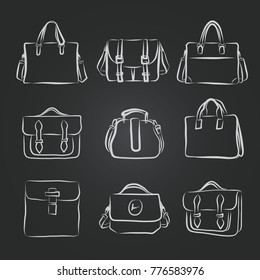 Vector set of hand-drawn bag icon or logo template. Sketch.