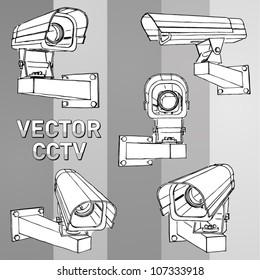 Vector set: hand-drawn CCTV cameras