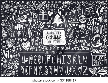 Vector set of hand-drawn Christmas elements and Christmas Alphabet. Set of Ornamental Christmas Style Elements. Spruce branches, boots, snowflakes, hearts, snow and Christmas letters.