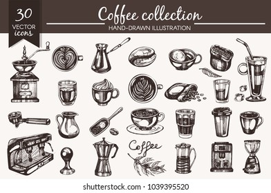 Vector set with hand-drawn coffee icons