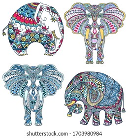 vector set of hand-drawn color tattoo doodles with decorated Indian Elephant