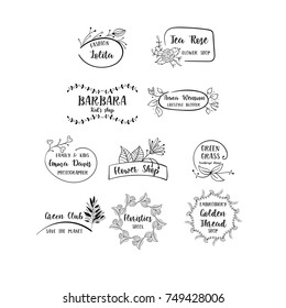 Vector set of handdrawn floral logos. Hand drawn spring collection with typographic design elements.
