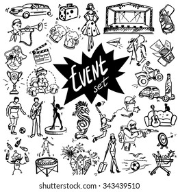 Vector set of hand-drawn icons for events. Stage, spotlight, people.