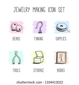 Vector set of hand-drawn icons for hobby of jewelry making, includes tools, beads and other supplies.