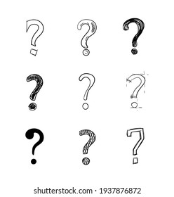 Vector set of handdrawn questions marks isolated on white background, doodle style illustration.