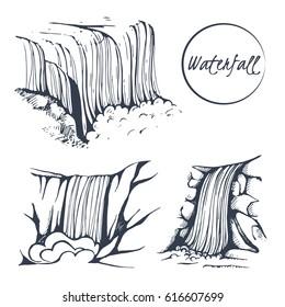 Vector set of hand-drawn waterfall