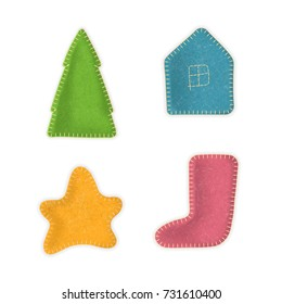 Vector set of hand-made sewn toys. Christmas tree, house, star, stocking made of felt cloth with stitches. For cute holiday design.