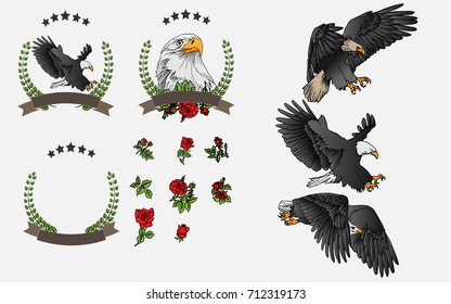 Vector set hand-painted eagle and red rose For graphic design, signage and text.