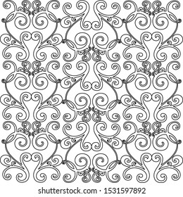 Vector set of hand-painted vintage baroque ornament. Retro pattern antique style acanthus