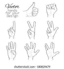 vector set of hands. black and white.